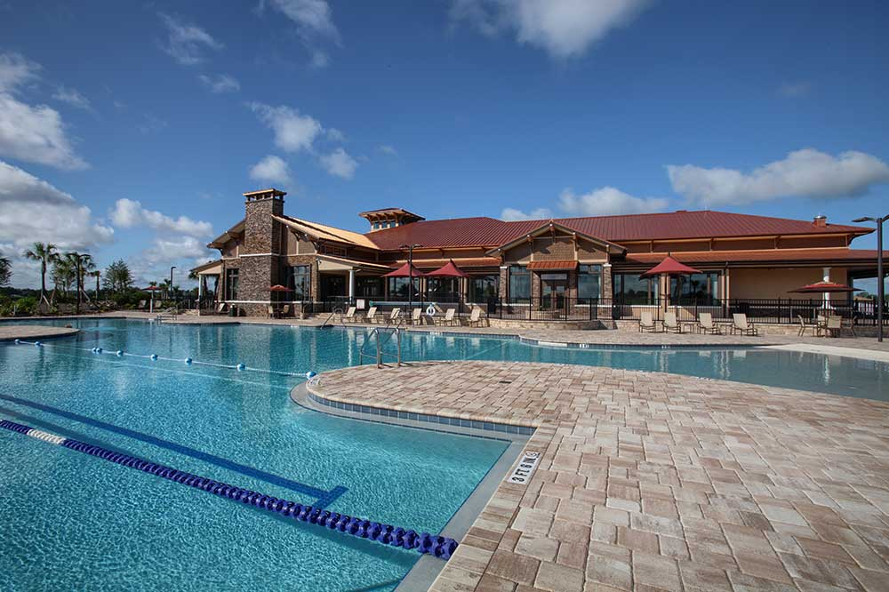 Zero-entry pool with lap lanes at The Lodge at Candler Hills On Top of the World Communities Ocala, FL