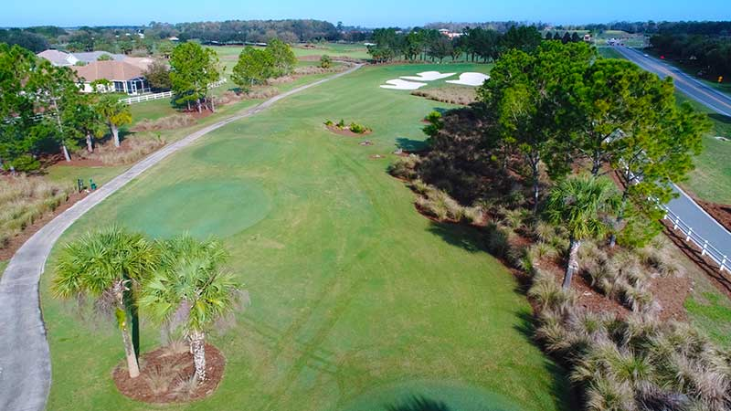 Candler Hills Golf Course at On Top of the World Retirement Community Florida hole 13 aerial. Open to the public!