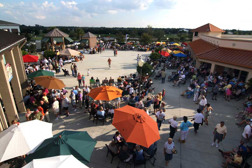 Entertainment and Festivals on The Town Square at Circle Square Commons in Ocala, FL open to the public.