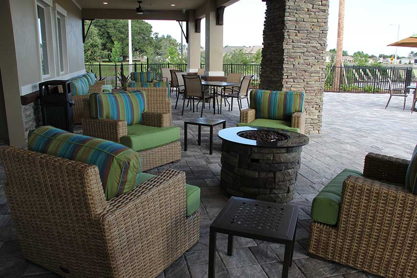 Indigo East Fitness Center patio area at On Top of the World Communities in Ocala, FL