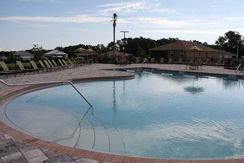 Indigo East Fitness Center outdoor pool at On Top of the World Communities in Ocala, FL
