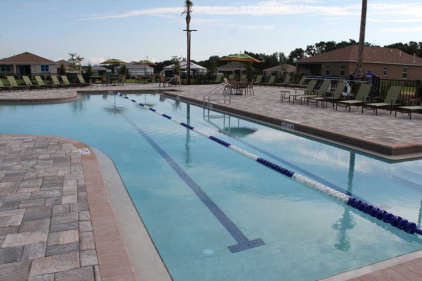 Indigo East Fitness Center outdoor pool lap lanes at On Top of the World Communities in Ocala, FL
