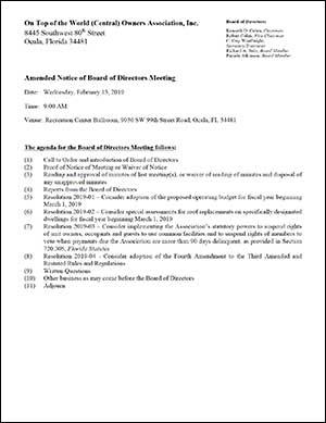 OTOW Central Homeowners Association Meeting Feb 13 2019 agenda