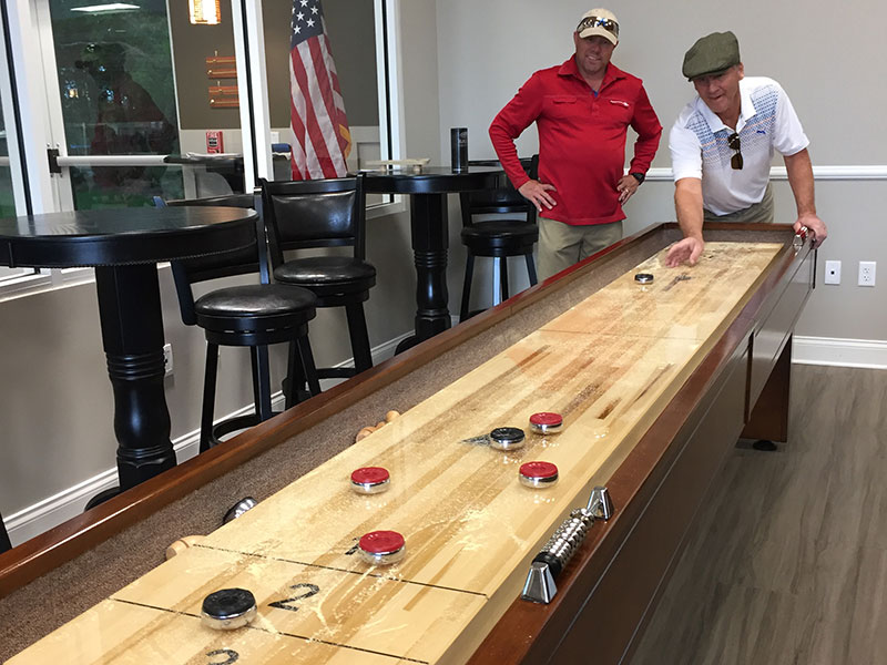 Shuffleboard tables at The Arbor Activity Center